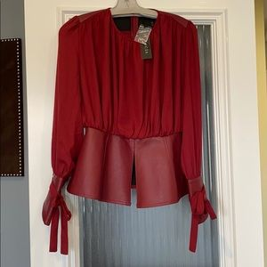 garcia peplum faux leather top